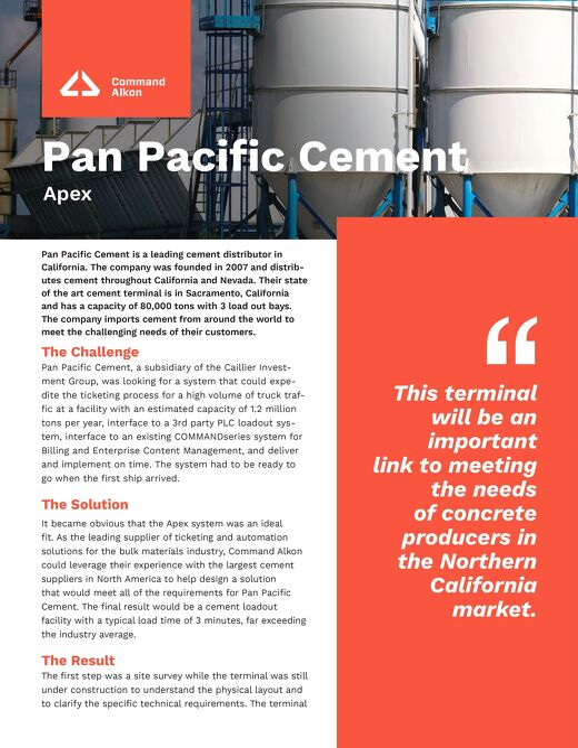 Pan Pacific Cement Apex Case Studies