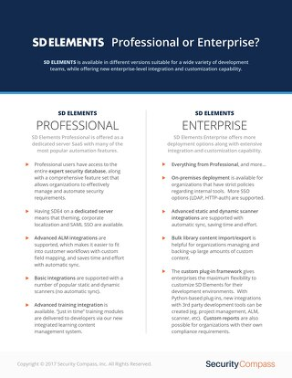 SD Elements: Professional or Enterprise?