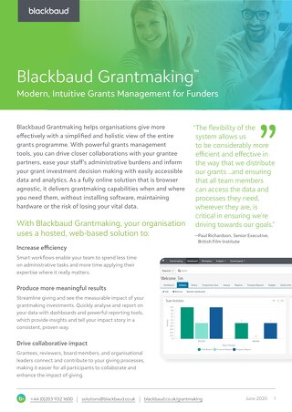 Blackbaud Grantmaking and Outcomes Datasheet