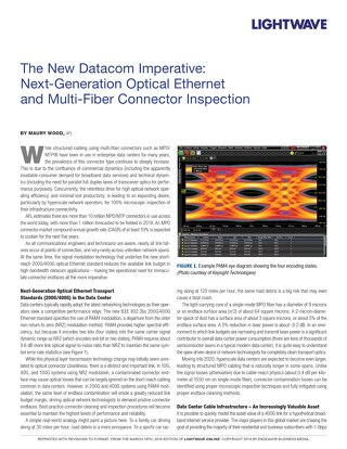 The New Datacom Imperative: Next-Generation Optical Ethernet and Multi-Fiber Connector Inspection