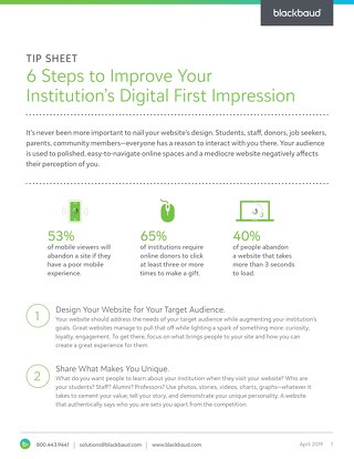6 Steps to Improve Your Institutions Digital First Impression - Tip Sheet - Final