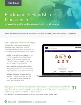 Data Sheet: Blackbaud Stewardship Management