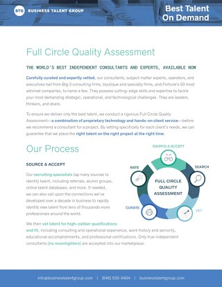 BTG Talent Quality Assessment
