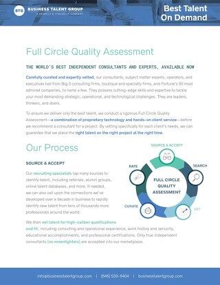 BTG Talent Quality Assessment