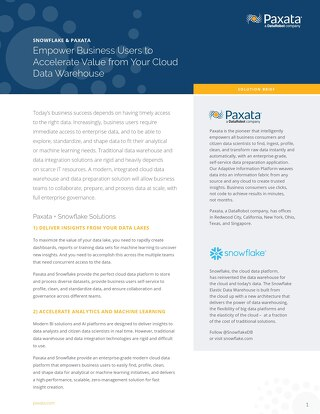 Paxata and Snowflake Solution Brief