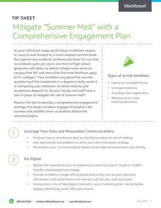 Tip Sheet: Avoid Summer Melt with Effective Engagement