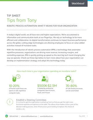 Tip Sheet: Tips from Tony Boor on Robotic Process Automation