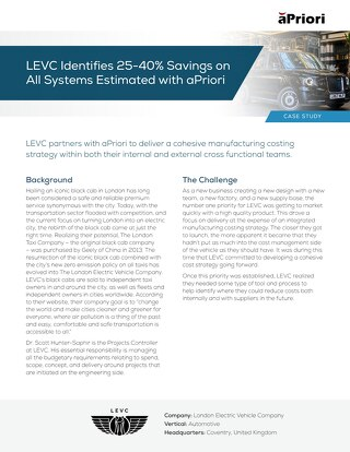 aPriori Customer Spotlight LEVC