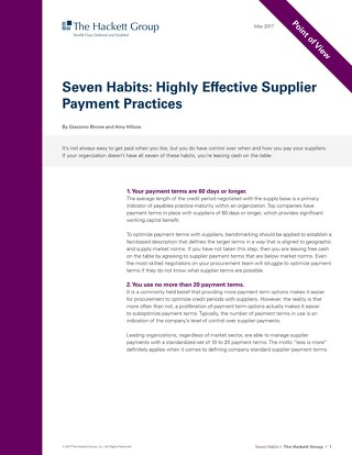 Hackett Group Analyst Report: Seven Habits Highly Effective Supplier Payment Practices