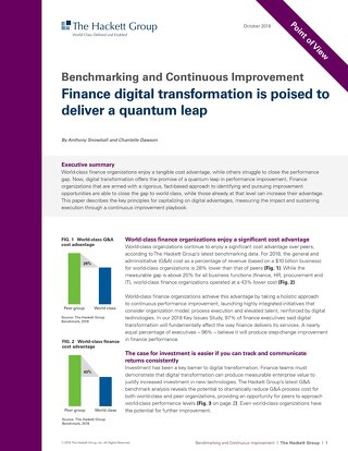 Hackett Group Benchmarking Report: Finance digital transformation is poised to deliver a quantum leap