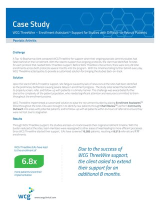 Psoriatic Arthritis – Enrollment Assistant Support for Studies with Difficult-to-Recruit Patients