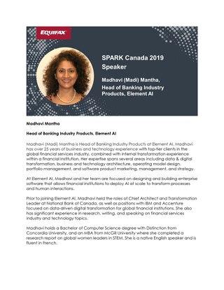 SPARK Canada Speaker: Madhavi Mantha