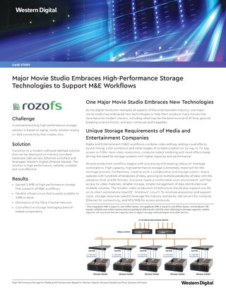 Major Movie Studio Embraces High Performance Storage Technologies