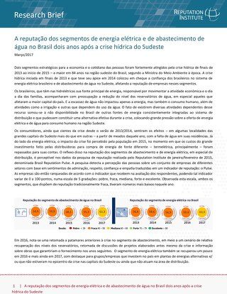 Reputation of Electricity and Water Supply Segments in Brazil
