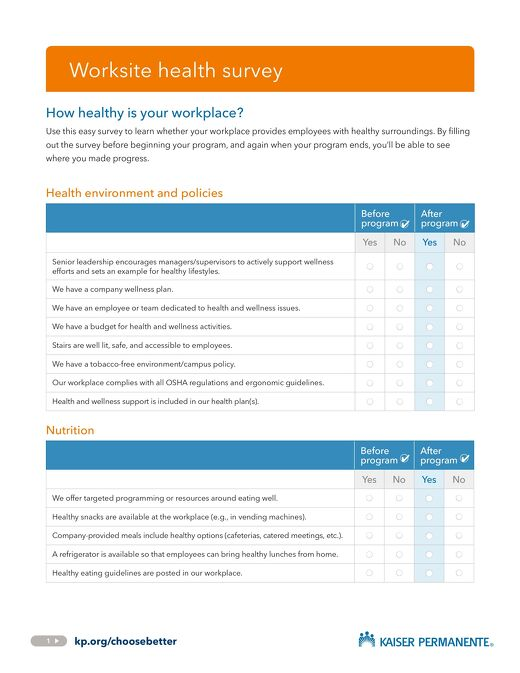 Worksite Health Survey