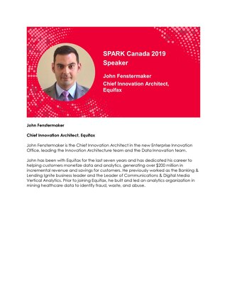 SPARK Canada Speaker: John Fenstermaker