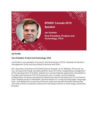SPARK Canada Speaker: Jari Koister