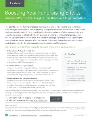 Advanced Peer-to-Peer Insights from Blackbaud Target Analytics