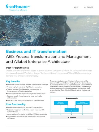 Business and IT transformation: ARIS Process Transformation and Management and Alfabet Enterprise Architecture