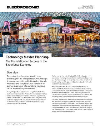 Technology Master Planning: The Foundation for Success in the Experience Economy