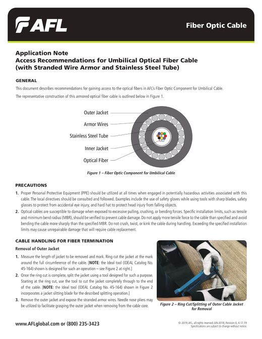 Access Recommendations for Umbilical Optical Fiber Cable