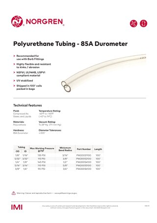 Polyurethane Tubing - Barb Fitting datasheet