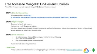 Access to MongoDB On-Demand Courses