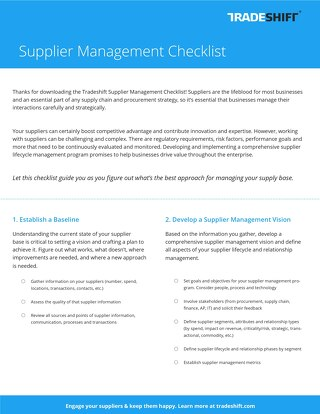 Supplier management checklist