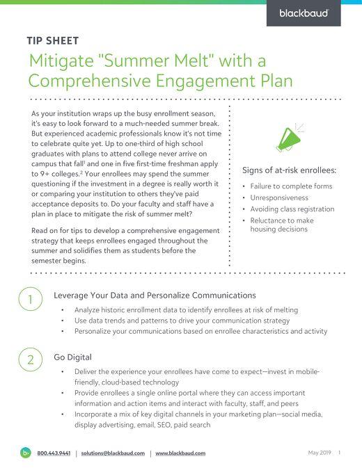 Mitigate Summer Melt with Effective Engagement