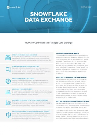 Snowflake Data Exchange Solution Brief