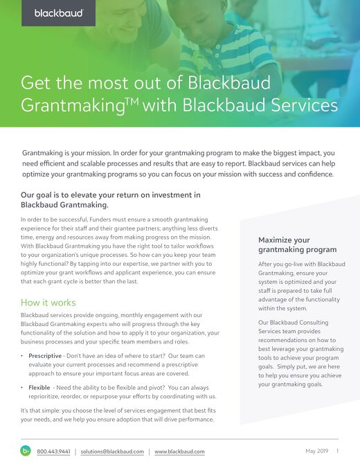 Blackbaud Grantmaking Solution Services
