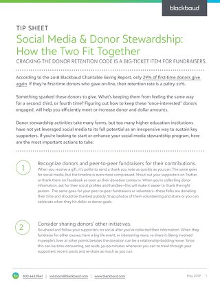 Blackbaud - Social Media & Donor Stewardship - Tip Sheet v2