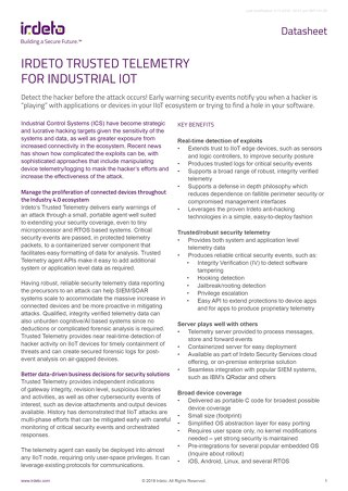 Datasheet: Cloakware® Trusted Telemetry for Industrial IoT