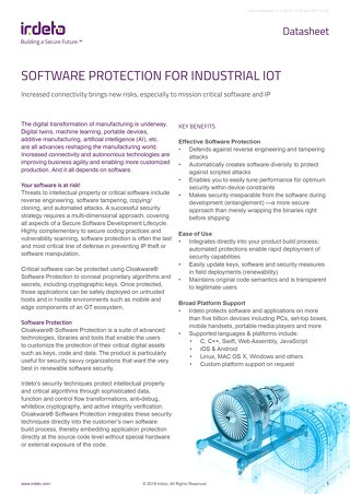 Datasheet: Cloakware® Software Protection for Industrial IoT