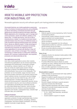 Datasheet: Irdeto Mobile App Protection for Industrial IoT