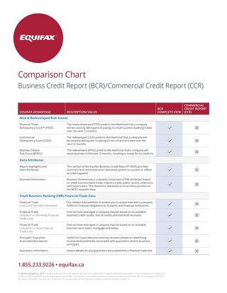 Business Credit Report /Commercial Credit Report Comparison Chart