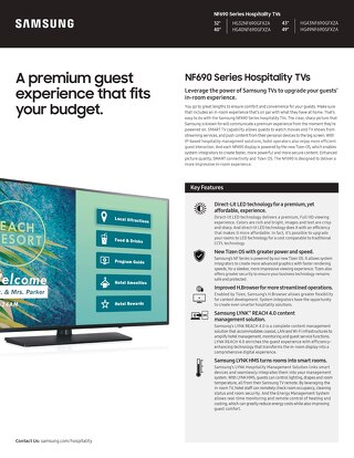 A premium guest experience that fits your budget: NF690 Series Hospitality TVs