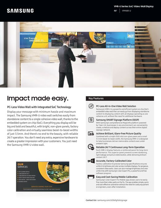 VMR-U Series SoC Video Wall Display - Impact made easy.
