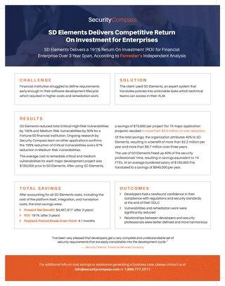 SD Elements Delivers Competitive Return on Investment for Enterprises
