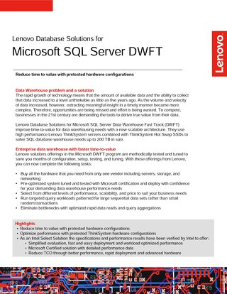 Lenovo Database Solutions for Microsoft SQL Server DWFT