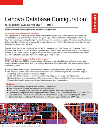 Lenovo Database Configuration for Microsoft SQL Server DWFT – 10TB