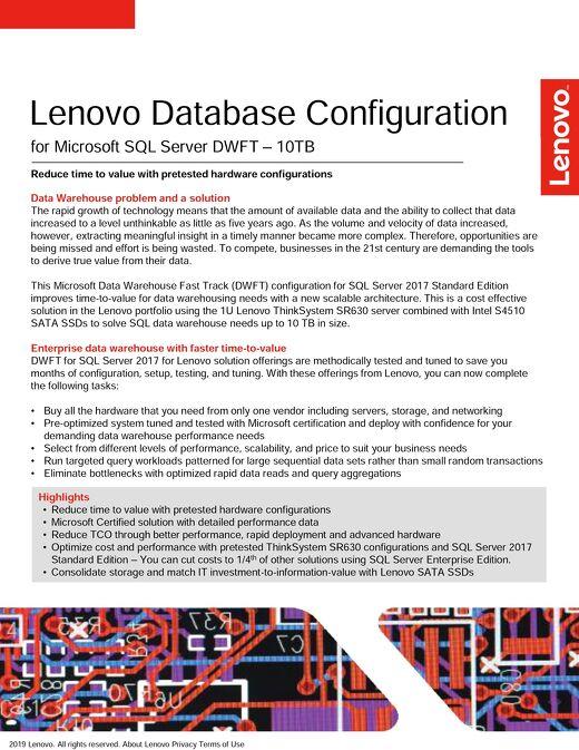 Lenovo Database Configuration for Microsoft SQL Server DWFT – 10TB