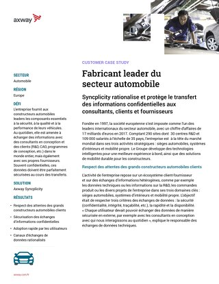 Fabricant leader du secteur automobile