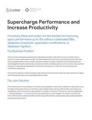 Looker & Formulus Black Solution Brief: Supercharge Performance & Increase Productivity