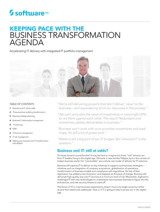 Keeping Pace with the Business Transformation Agenda