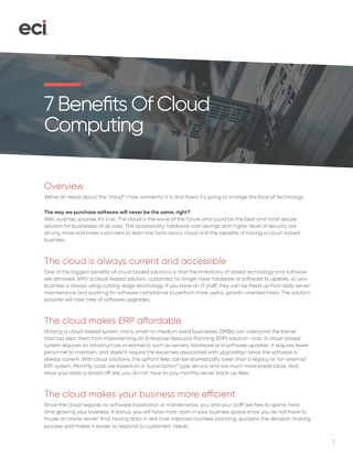 Whitepaper: 7 Benefits of Cloud Computing