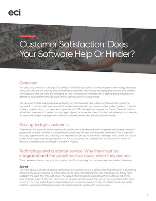Whitepaper: Customer Satisfaction--Does Your Software Help or Hinder?