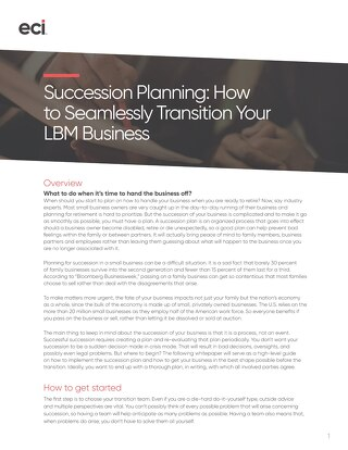 Whitepaper: Succession Planning for LBM Dealers