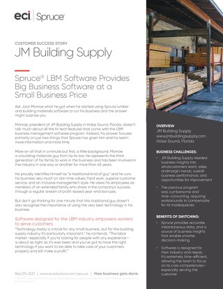 JM Building Supply: Spruce Provides Big Business Software at Small Prices