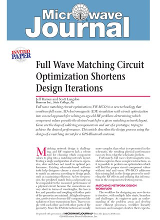 Full-Wave Matching Circuit Optimization Shortens Design Iterations